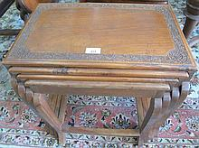 Antique nest Kashmiri carved side tables circa