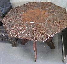 19thC Kashmiri carved eight sided wood table