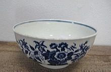 18th century Worcester porcelain bowl restored measures 15cms