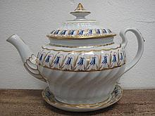 Antique Barr Worcester porcelain teapot on stand gilded with bluebells inci