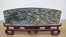 Chinese Qing Dynasty polychrome ivory wrist rest carved with Phoenix and Dr