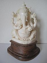 Finely carved Indian figure of Ganesh 11cms Ht 15cms overall