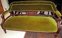 Edwardian green velvet upholstered sofa measures 237cm long x 77cm high