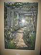 Framed Pastel 'The Garden Path' signed Noah Wright