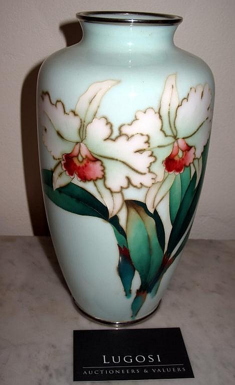 Superb Large Ando silver wire cloisonne vase