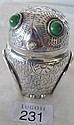 Antique German Alpacca silver metal owl jar