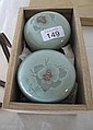 Korean boxed celadon glazed lidded pots