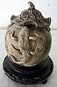 Chinese Han style lidded jar with chilong 13cms ht
