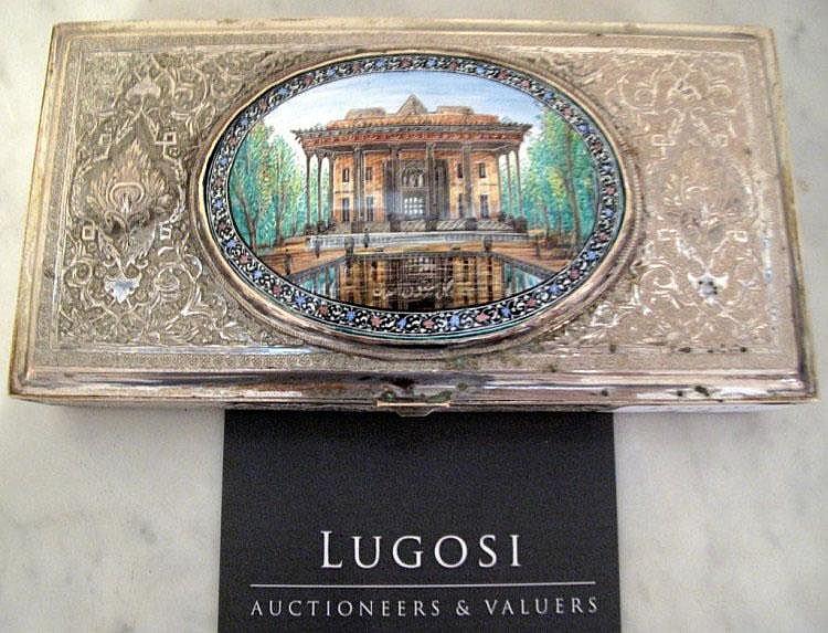 Vintage Persian enamel and silver box