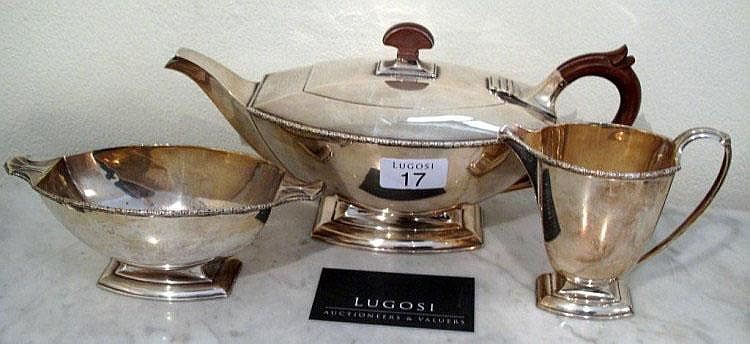 Art Deco sterling silver three piece tea service