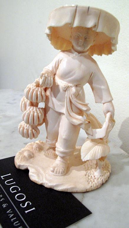 Good Oriental carved ivory figure