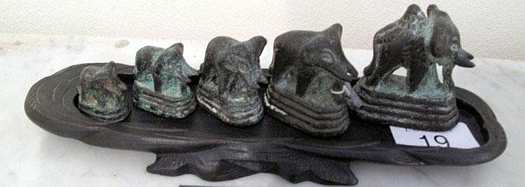 Antique set of five bronze elephant opium weights
