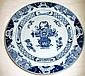 Antique Chinese blue & white porcelain charger