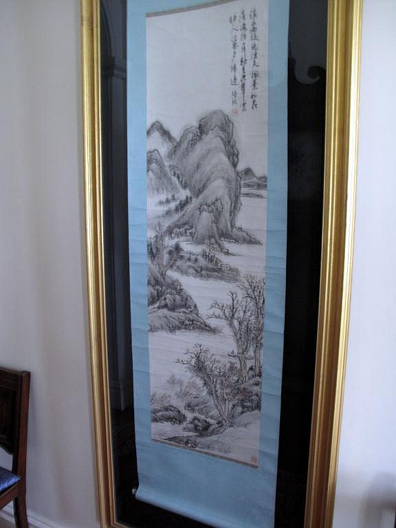 Antique Chinese monochrome scroll painting framed