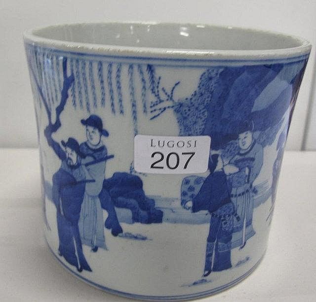 Chinese blue and white porcelain Bitong (brushpot)