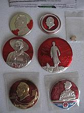 Three vintage Mao metal badges with later Mao badges and newspaper cutting
