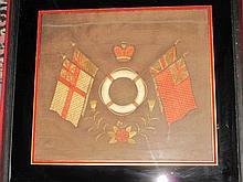 Framed vintage Naval silk picture af 44 x 50cms