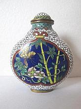 Chinese fine cloisonne snuff bottle with panels of lotus flowers and butter