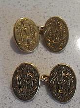 Pair 18ct gold oval cufflinks Sheffield hallmarks maker's mark EW TW monogr