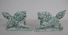 Pair carved mottled jade Kylin measure 10x 8cms