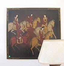 Chinese decorative panel figures on horses