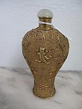 Rare Chinese gilt snuff bottle jade stopper with cats on finely beaded and