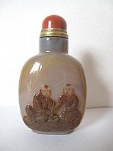 Fine Chinese carved agate snuff bottle with pair of figures measures 7.5cms