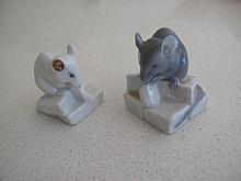 Two Royal Copenhagen porcelain mice 4cms