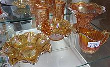 Six pieces Marigold carnival glass