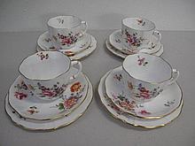 Four Royal Crown Derby Posies porcelain trios