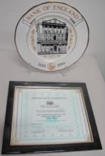 Bank of England tercentenary cabinet plate 191/300 measures 26.5cms Dia with certificate of authenti