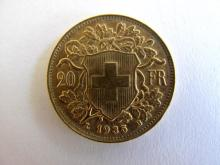 Swiss 20 Francs Vreneli gold coin 1935 weighs 6.4516grams 21mm dia 5.805 grams of pure gold