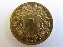 Swiss 20 Francs Vreneli gold coin 1927 weighs 6.4516grams 21mm dia 5.805 grams of pure gold