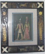 Framed Egyptian picture measures 42x36cms