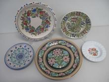 Five Hungarian painted ceramic plates