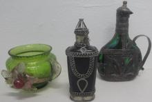 Victorian green glass vase & two silver clad green glass bottles 18cms tallest (3)