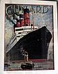 Framed vintage Cunard poster