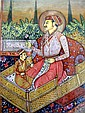 Antique Indian miniature painting Prince and