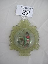 Chinese inside painted jade pendant 6.4cms