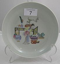 Fine Chinese 'Falangcai' dish decorated with lady