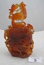 19th Chinese carved agate lidded vase on stand