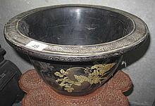 19thC Chinese gilded black lacquer flower pot
