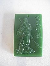 Chinese green Jade rectangular plaque carved with