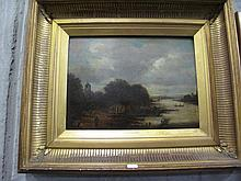 Framed antique oil board Van Goyen Attributed
