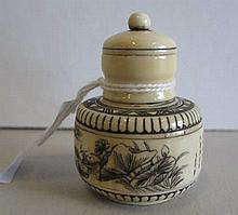 Antique Chinese ivory snuff bottle landscape