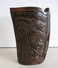 Chinese carved horn libation wine cup with dragon