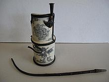 Vintage Chinese ceramic and metal opium pipe