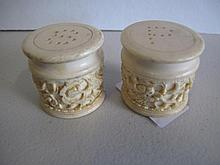 Pair Chinese Ivory salt and pepper carved with