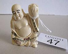 Mammoth Ivory Buddha holding Moneyboat 4.5cm