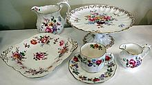 Royal Crown Derby Posies comport  two jugs two cup saucer and a dish large jug 13cms Ht (8pcs)